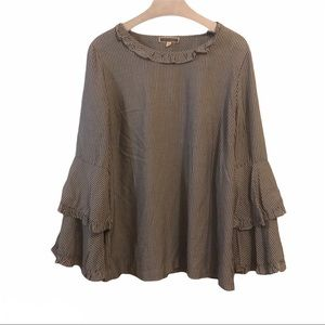 Pleione Blouse Top Large Bell Sleeves Ruffle